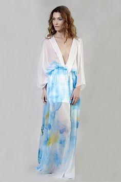 Silk Chiffon Maxi Kimono
