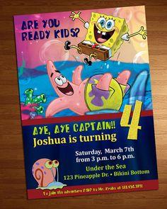 Spongebob Invitation by on Etsy Happy 8th Birthday, Sons Birthday, 3rd Birthday Parties, Birthday Bash, Birthday Invitations, Invites, Birthday Ideas, Spongebob Birthday Party, Mr Krabs