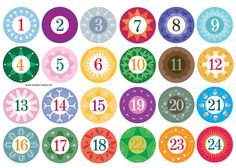 FREE printable number stickers (1-24) / christina william | FREE ...