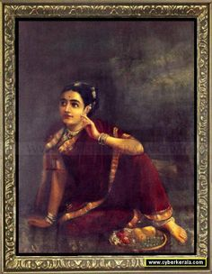 Radha Waiting for Krishna-by Raja Ravi Verma