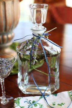 How to Make Lavender Water #diy...What You Need:    1 bottle distilled water    Essential lavender oil    fresh lavender sprigs to decorate outside of bottoe, optional    spray bottle or decanter