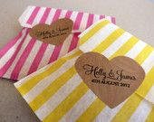 15 Striped Candy Favour Bags and Heart Shaped Stickers  - Wedding / Party / Birthday Favor. £6.00, via Etsy.