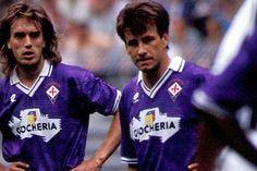 "Gabriel Batistuta (ACF Fiorentina, 1991–2000, 269 apps, 168 goals) and ""Dunga"" Carlos Caetano Bledorn Verri (ACF Fiorentina, 1988–1992, 124 apps, 8 goals)."