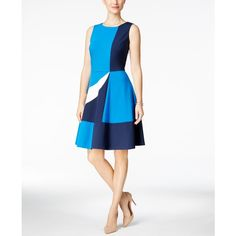 Charter Club Colorblocked Fit & Flare Dress, ($38) ❤ liked on Polyvore featuring dresses, deepest navy combo, fit flare dress, navy white dress, white fit-and-flare dresses, white fit and flare dress and colorblock fit and flare dress