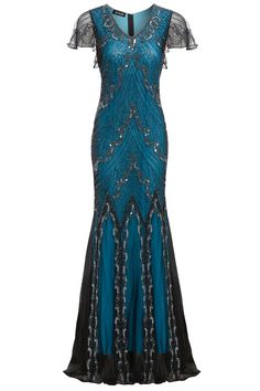 Evelyn Blue Beaded Flapper Dress Great Gatsby Inspired Downton Abbey Blue Formal Wedding Maxi Long Evening Gown Plus Size S-XXXXL Robes Vintage, Vintage Dresses, Vintage Outfits, Vintage Hats, 20s Dresses, Pretty Dresses, Flapper Dresses, Dance Dresses, Daytime Dresses