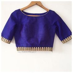 The Midnight Blue Orchid Blouse Saree Blouse Neck Designs, Stylish Blouse Design, Fancy Blouse Designs, Bridal Blouse Designs, Blouse Patterns, Midnight Blue, Embroidery Blouses, Embroidery Sampler, Sarees