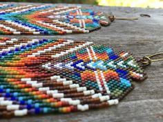 Tiamat...Fractal seed bead earrings sacred by DancingWillowDesign
