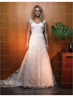 A-Line V-neck Embroidery Satin Chapel Train Wedding Dress at Millybridal.com
