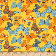 Moda On the Wing Flutterby Sunshine from @fabricdotcom  Designed by Abi Hall for Moda, this cotton print fabric is perfect for quilting, apparel and home decor accents. Colors include shades of orange, blue, and yellow.