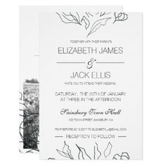Flora Minimal Wedding Invite  Photo - wedding invitations cards custom invitation card design marriage party
