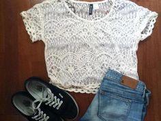 white lace, black shoes