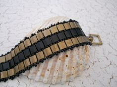 bronze & black checkerboard weave bracelet with Tila beads