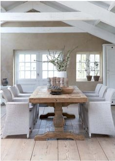 beautiful wooden table and nice chairs