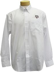 Our Texas A Long Sleeve Fine Twill shirt from Cutter & Buck has the rich feel of a cotton blend plus a wrinkle-resistant finish. A button-down collar & patch pocket look classic; the back box pleat offers room to move. All are finished with two-button adjustable cuffs, button-sleeve plackets & shirt tail hem. Texas A Block aTm logo embroidered on the left chest. 60% cotton, 40% polyester. Machine wash/dry clean.