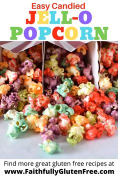 This easy candied Jello Popcorn lets you create a rainbow of flavors and colors. Change the gelatin flavor to create different colors and flavors. Yummy Snacks, Snack Recipes, Cooking Recipes, Healthy Popcorn Recipes, Easy Candy Recipes, Easy Candied Popcorn Recipe, Candy Popcorn Recipe Corn Syrup, Homemade Flavored Popcorn, Jello Candy Recipe