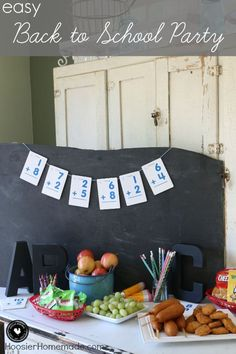 Put together this Easy Back to School Party in minutes! Easy decorations and crafts + Easy snacks = LOTS of fun! Click on the Photo for more information on how to create this fun and EASY Party!