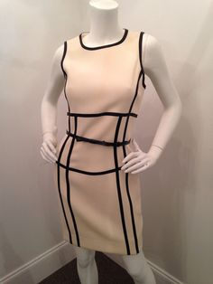 Click to shop - MICHAEL KORS LEATHER TRIM SHEATH DRESS & BELT WITH BOW DETAIL, SIZE 8 FITS LIKE 4