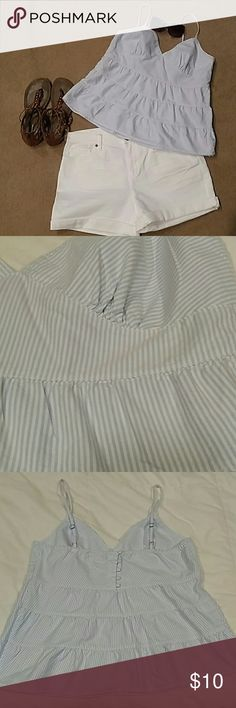 Tommy Hilfiger Cami - Very Nautical & Summery! Cute light blue/white pinstriped cami, fitted at the bust, adjustable straps, side-zipper, covered buttons on back, and small TH initials embroidered on lower left front. 100% cotton. Tommy Hilfiger Tops Camisoles