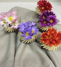 Porta guardanapo chapéu com flores | Charme à Mesa | Elo7