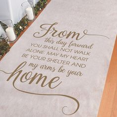 Makes your walk down the wedding aisle even more special with a personalized aisle runner. This Personalized My Favorite Walk Aisle Runner is printed with . Wedding Ceremony Decorations, Wedding Centerpieces, Wedding Favors, Church Decorations, Centerpiece Ideas, Wedding Invitations, Wedding Events, Wedding Day, Dream Wedding
