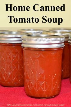 Home Canned Tomato Soup - Easy Recipe for Canning Tomato Soup. This tomato soup recipe is easy to make and kid friendly. The soup is condensed so it takes up less storage space. Dont have a canner? Soup may also be frozen for storage. Tomato Soup Can Recipe, Canning Tomato Soup, Tomato Basil Soup, Canning Tomatoes, Canning Tips, Home Canning, Canning Recipes, Freezing Tomatoes, How To Can Tomatoes