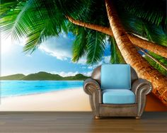 Sunset on beach Wall mural wall decal repositionable by StyleAwall, $480.00