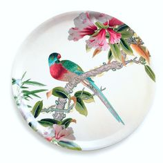 An Angel at my Table Exclusive - Chinoiserie Parrot trays Pottery Painting, Ceramic Painting, Ceramic Art, Hand Painted Plates, Plates On Wall, Decorative Plates, Chinoiserie, Ceramic Plates, Ceramic Pottery