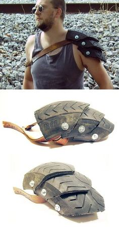 Wasteland Champion Motorcycle Tire Pauldron -- Don't know what I'd wear this with but I'd wear this the battle every day!! :D