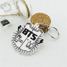 Wholesale k-pop Fashion Personalized BTS Bangtan Boys Bulletproof Boy Scouts Team Logo Key Chain Ring Keyring P3191