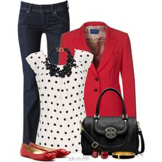 A fashion look from June 2013 featuring dot shirt, pocket jacket y medium rise jeans. Browse and shop related looks.