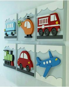 Set of 6 Transportation Wood Kids Wall Decor, Transportation for Nursery and Kids Rooms, Car Train Helicopter Firetruck Bus Plane : Juego de 3 niños madera transporte pared decoración por EleosStudio Wood Crafts, Diy And Crafts, Crafts For Kids, Blue Bus, Kids Background, Kids Wall Decor, Wood Toys, Wood Wall Art, Boy Room