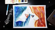 KISS ME 💋💙 Don't be afraid of who you are 😘 . #pennyfou #artoftheday #instaart #instagood #instaartist #artist #arte #artistic #artsy #art #draw #drawing #pencil #pencildrawing #paint #painting #acrylic #worldofpencils #sketch #artgallery #worldofartists #sketchbook #sketching #myart #color #watercolor #colorful #illustration #kiss #kisses