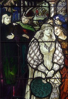 """The Story of Dante and Beatrice"" by Florence Camm, 1911. Detail, Stained Glass"