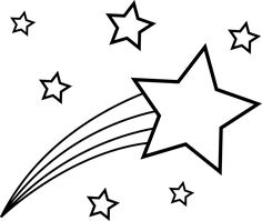 Shooting Star Colorable Line Art - Free Clip Art