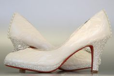 Wedding Shoes -- Ivory Peeptoes with Lace Overlay, Rhinestone and Pearl Adornment, Red Soles and Rhinestone Details