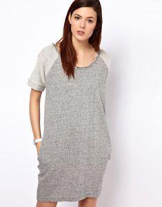 BZR Cotton Melange Knit Jumper Dress wit Pockets OVERSIZED - GREY size S - UK 10