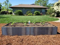 Bed and a 12 foot long garden bed in the background. this a great and easy way to create a custom corten steel garden at an affordable price and minimum Garden Table, Garden Boxes, Garden Planters, Raised Garden Beds, Raised Beds, Corten Steel Planters, Growing Greens, Garden Illustration, Garden Painting