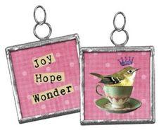 2 Sided Glass Pendant Charm Vintage Bird in Teacup ~ Joy Hope Wonder ~   $3.99