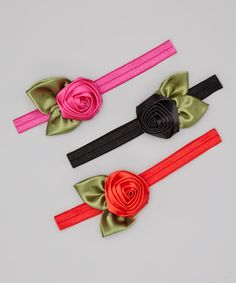 Take a look at this Shocking Pink & Black Rosette Headband Set on zulily today!