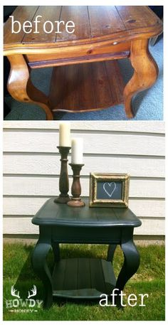 End Table Makeover in Cece Caldwell's Vermont Slate