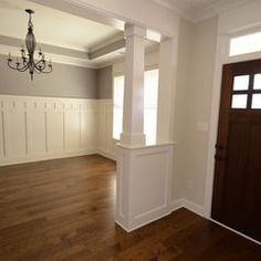 wainscotting love the design in a dining room and bathroom. Craftsman Interior, Craftsman Dining Room, Craftsman Remodel, Craftsman Decor, Craftsman Trim, Craftsman Style Interiors, Craftsman Houses, Wainscoating Dining Room, Wainscoting Bathroom