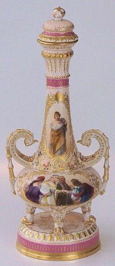 Austrian Royal Vienna Porcelain Ornate Gilt & Pictorial Urn.