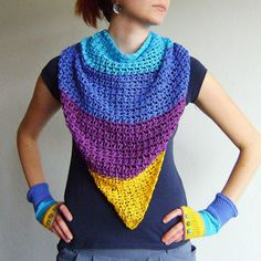 Yellow Purple Blue Turquoise Triangle Scarf / 100% Cotton Crochet Neckwarmer / Fall Winter Striped Neckwear / Fashion Accessories Gift Idea