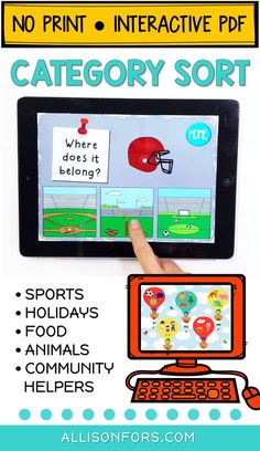 Categories and sorting activities for speech therapy and the classroom. The home screen includes 5 categories (sports, holidays, animal habitats, community helpers, and food) and includes 69 sorting pages. This is a NO PRINT, interactive PDF (great for teletherapy!) No printing, cutting, or laminating! Just download, save, and open on your computer or tablet.