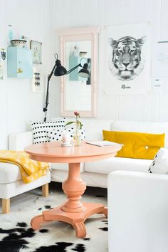 Coral painted table and pink paint mirror