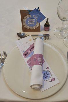 Detalle sorpresa para invitado especial + minuta + servilletero