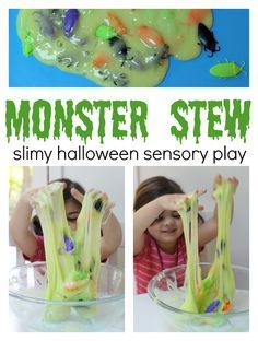 Monster Stew sensory play for Halloween. Halloween activities like making slime from no time for flash cards