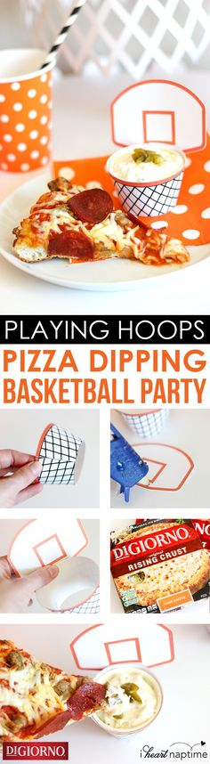 """Pizza dipping hoops from @Jamielyn - I Heart Naptime! Supplies: DIGIORNO Original Rising Crust Sausage & Pepperoni pizza, Free printables, White card stock, White treat cups, Scissors and a Glue gun.Step 1: Print/cut printables. Step 2: Measure the """"net"""" around the treat cup and hot glue it in the back. Step 3: Glue front of """"backboard"""" to back of """"net"""". Step 4: Fill treat cup with a dip. Step 5: Dunk a slice of hot, fresh-baked DIGIORNO Original Rising Crust Sausage & Pepperoni pizza."""