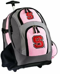 "NC State Rolling Backpack Deluxe Pink NC State Wolfpack - Backpacks Bags with Wheels or School Trolley Carry-On Suitcase Bags - Unique Wheeled Gifts for Girls Ladies Women by Broad Bay. $63.99. Well Padded Back and Adjustable Padded Straps. Lots of Exterior Pockets and a Mesh Water Bottle Pocket,. Super Strong 600 Denier Fabric,. Best Unique Valentine Gift Ideas. Dimensions: 20.5""h x 13""w x 7.9""d; Approx. 2,097 cubic inches. Super Strong 600 Denier Nylon. This cute deluxe whe..."
