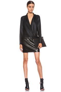 Barbara Bui Leather Skirt Shawl Collar Poly Dress in Black